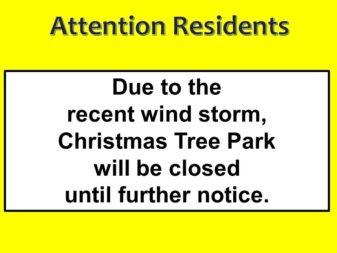 Close Park due to wind storm 2-18-20