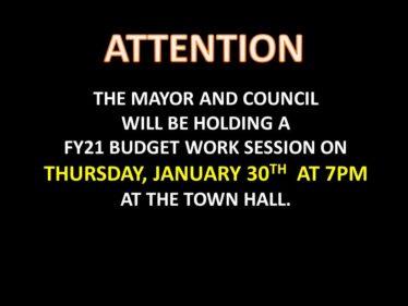 FY21 budget work session Jan 30