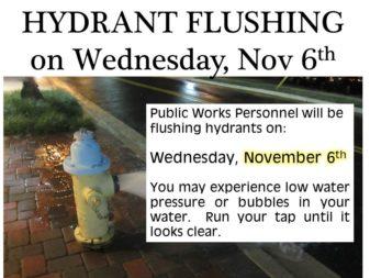 Hydrant flushing Nov 6