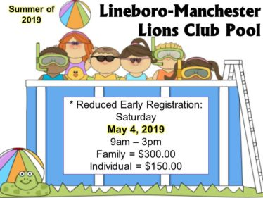 Reduced Early registration pool 2019