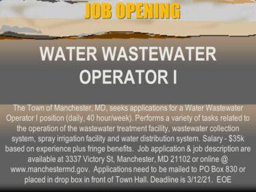 Water Wastewater Operator I job opening 2-22-21